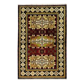Handmade One-of-a-Kind Kazak Wool Rug (India) - 3'2 x 4'10