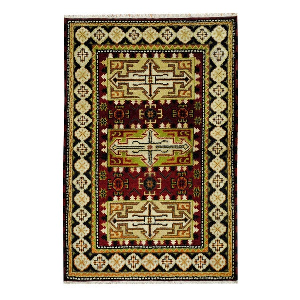 Handmade One-of-a-Kind Kazak Wool Rug (India) - 3'2 x 4'10