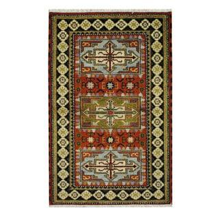 Herat Oriental Indo Hand-knotted Tribal Kazak Rust/ Ivory Wool Rug (3' x 4'10)