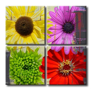 Ready2HangArt 'Painted Petals XXXVIII' 4 piece Canvas Wall Art