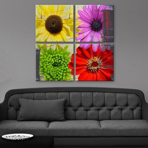 Ready2HangArt 'Painted Petals XXXVIII' 4 piece Canvas Wall Art