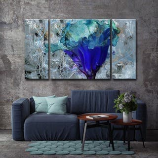 Oliver James Blue Flower Canvas Wall Art