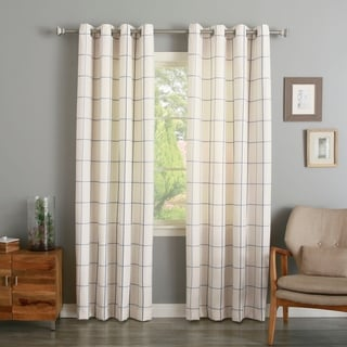 Aurora Home Geometric Grid Printed Linen Blend Grommet Curtain Panel Pair
