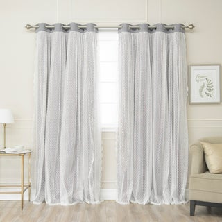 Aurora Home Dotted Lace Overlay Blackout Curtain Panel Pair