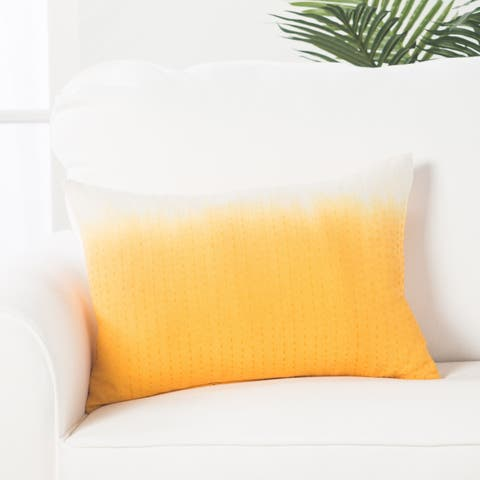 Handmade Abstract Pattern Cotton Yellow Throw Pillow