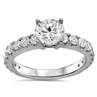 18k White Gold 1 1/3ct TDW Certified Enhanced Round Diamond Engagement Ring (F-G, SI1-SI2)