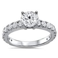 18k White Gold 1 1/3ct TDW Certified Enhanced Round Diamond Engagement Ring