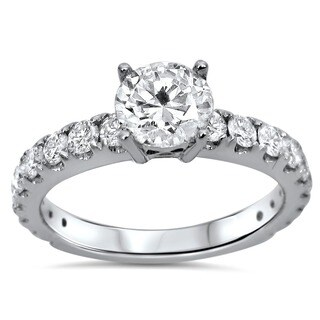 18k White Gold 1 1/3ct TDW Certified Enhanced Round Diamond Engagement Ring