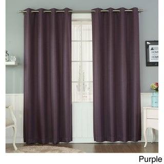 Aurora Home Basketweave Linen Look Room Darkening Blackout Grommet Curtain Panel Pair