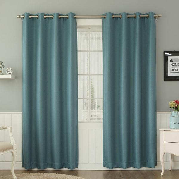 Aurora Home Basketweave Linen Look Room-darkening Blackout