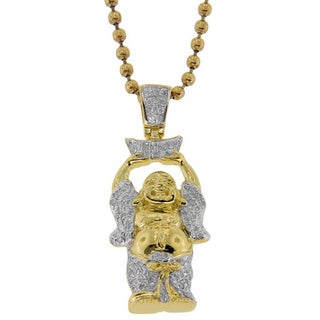 Sterling Silver 0.33ct TDW Diamond Buddha Neckless (G-H, I2-I3)