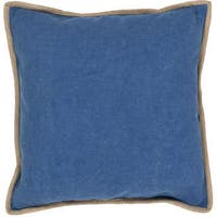 Handmade Solid Pattern Cotton Blue 22-inch Throw Pillow
