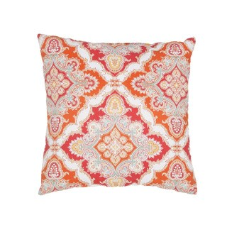 Handmade Floral Red 18-inch Throw Pillow