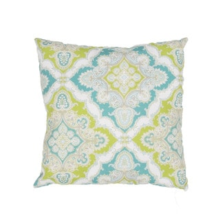 Handmade Floral Blue/Green 18-inch Throw Pillow