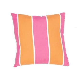 Handmade Stripe Pink/Orange 18-inch Throw Pillow