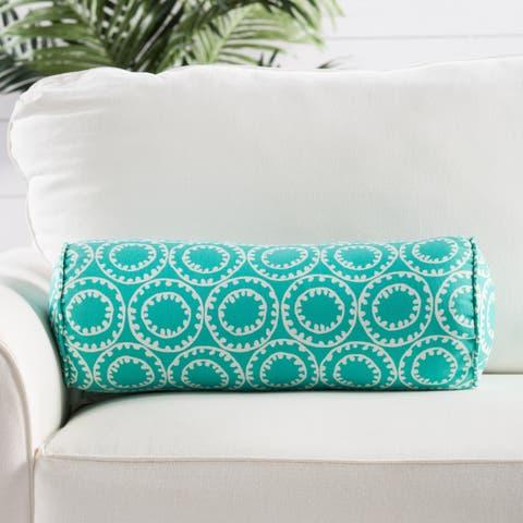 Canata Aqua/ White Geometric Indoor/Outdoor Bolster Throw Pillow
