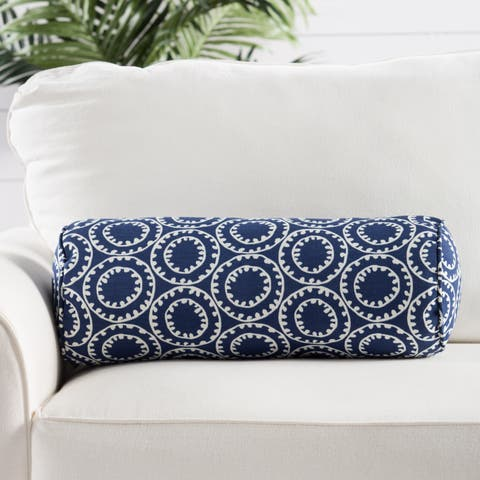 Blue/White Geometric Indoor/Outdoor 7X20 Inch Bolster Throw Pillow