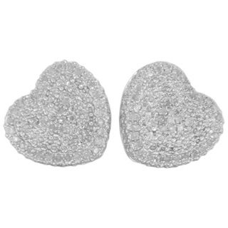 Sterling Silver 2/5ct TDW Diamond Pave Heart Stud Earrings
