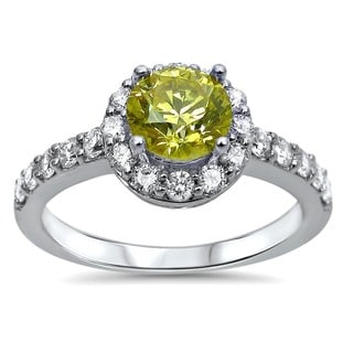 18k White Gold 1 1/10ct TDW Certified Yellow and White Diamond Engagement Ring