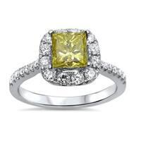 18k White Gold 1 3/8ct TDW Certified Yellow and White Princess Diamond Ring