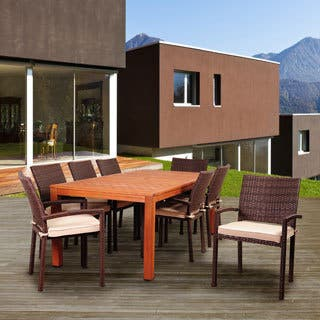 Amazonia Pisa 9-Piece Eucalyptus/Wicker Rectangular Patio Dining Set with Sunbrella Antique Beige Cushions