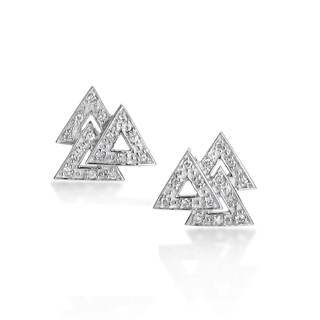 SummerRose 14k White Gold 1/3ct DiamondTriangular Earrings