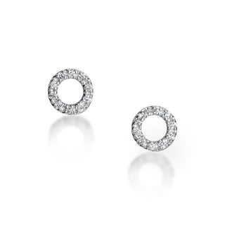 SummerRose 14kt White Gold Circle Diamond Accent Stud Earrings
