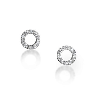 14k White Gold Circle Diamond Accent Stud Earrings