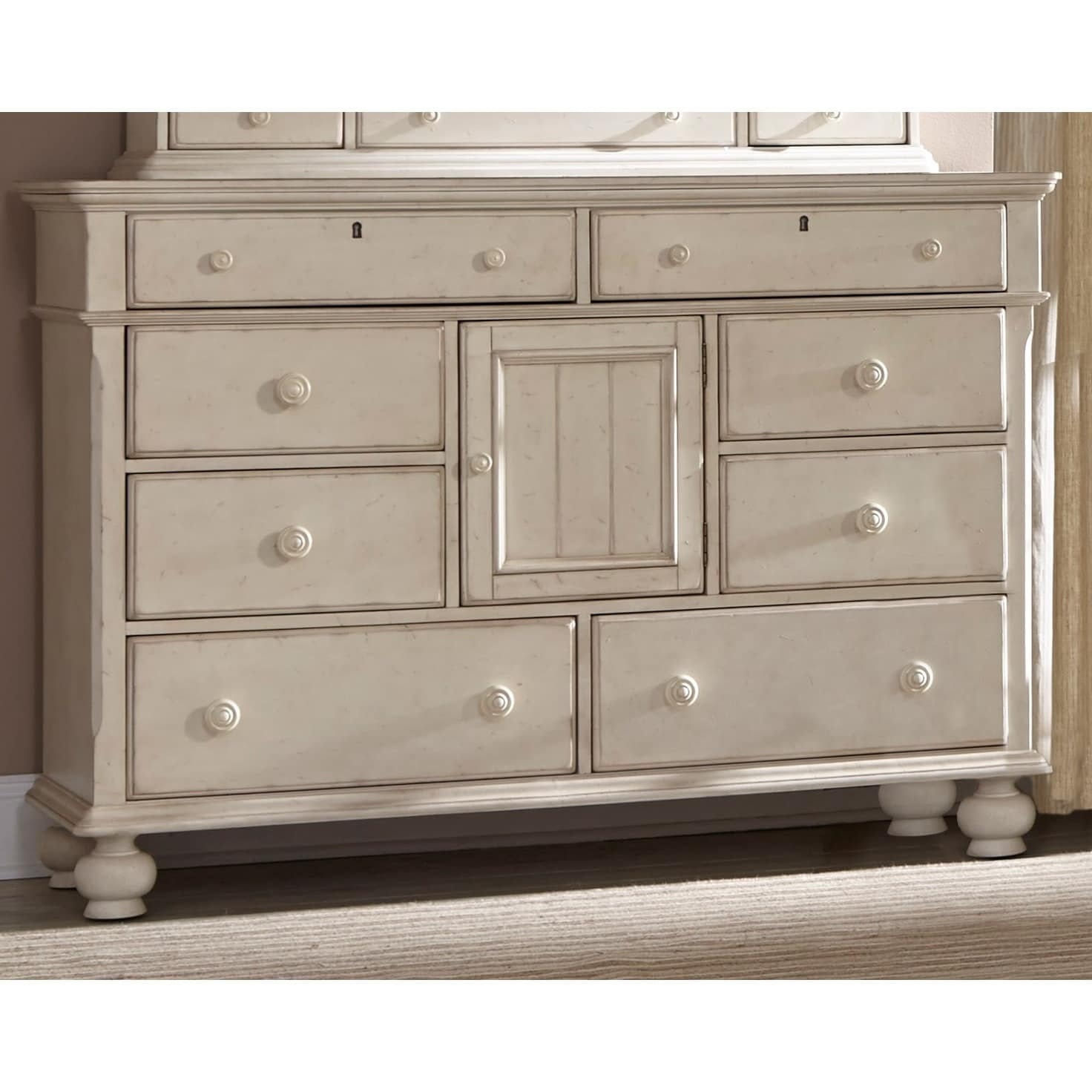 Laguna Antique White Dresser and Optional Mirror with Sto...