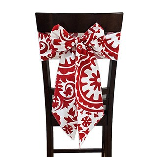 Suzani Lipstick Chair Tie with Tapered Ends & Serged Edges, Set of 2