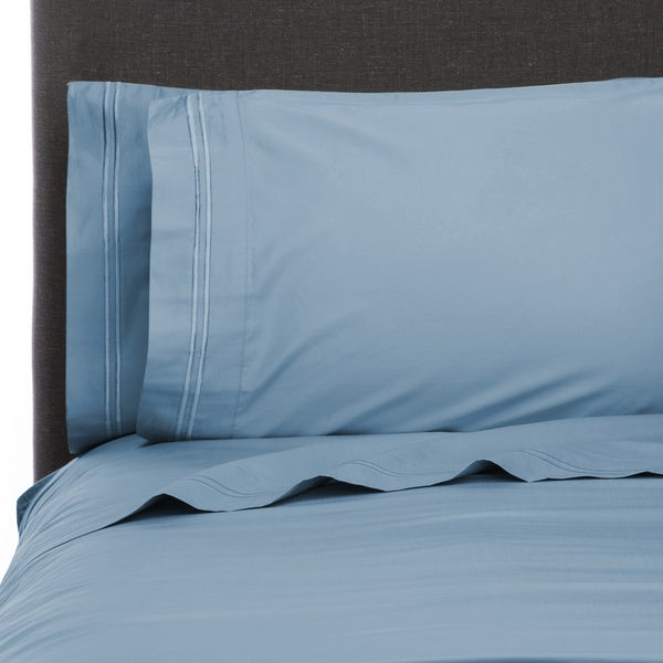 600 Thread Count 100-percent Egyptian Cotton Border Stripe Embroidery Sheet Set