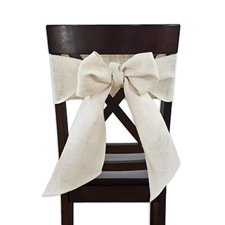 Burlap Off White Chair Tie with Tapered Ends & Serged Edges, Set of 2