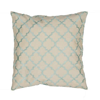 Handmade Moroccan Ivory/ Blue 20-inch Throw Pillow