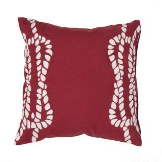 Handmade Coastal Red 20-inch Throw Pillow