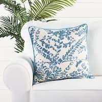 Handmade Floral Blue 18-inch Throw Pillow