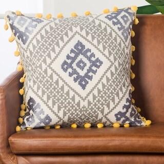 Handmade Geometric Grey/ Yellow 20-inch Throw Pillow