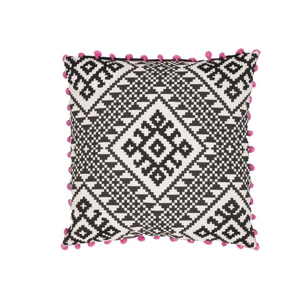 Handmade Geometric Black/ Pink 20-inch Throw Pillow