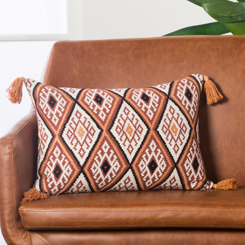 Handmade Geometric Orange/ Multi 14-inch Throw Pillow (Medium - Down - Specialty)