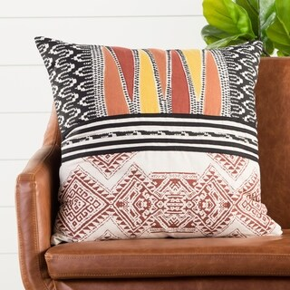 Handmade Tribal Red/ Multi 22-inch Throw Pillow