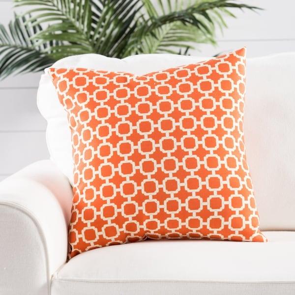 Lottie Orange/ White Trellis Indoor/ Outdoor 18-inch Throw Pillow