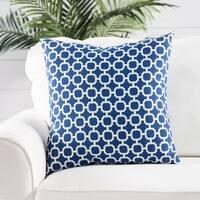 Handmade Geometric Blue 18-inch Throw Pillow