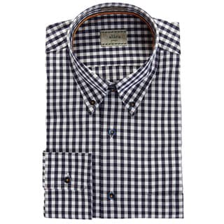 Alara Navy And Grey Herringbone Egyptian Cotton Plaid Sport Shirt With Contrast Trims