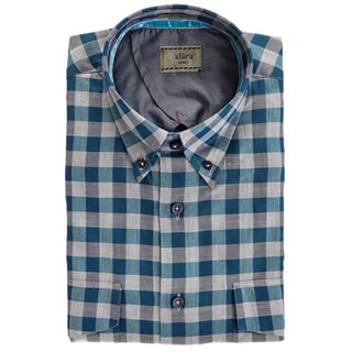 Alara Teal And Grey Herringbone Lux Poplin Egyptian Cotton Plaid Button Down Collar With Two Flap Pockets