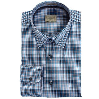 Alara Navy Blue Check With Hidden Button Collar And Contrast Trim Sport Shirt