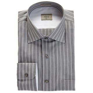 Alara Italian Stripe Grey Chambray Spread Collar Shirt