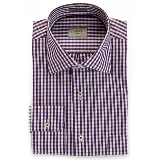 Alara Soft Wash Luxurious Eggplant Gingham Spread Collar Shirt