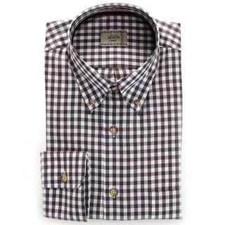 Alara Chocalate And Moca Tonal Check Twill Hidden Button Collar Shirt