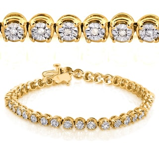 Annello Yellow Goldplated Silver 1/2ct TDW Round Diamond Bracelet (H-I, I2-I3)