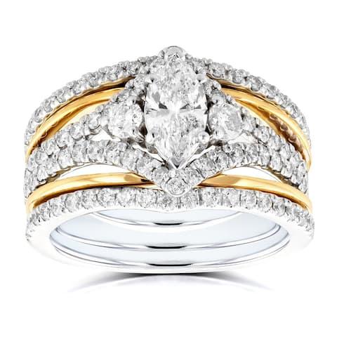 Annello by Kobelli 14k Two Tone Gold 1 2/5ct TDW Marquise Diamond Rings 3-Piece Chevron Bridal Set