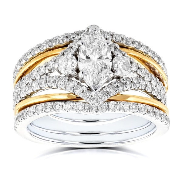 Annello 14k Two Tone Gold 1 2/5ct TDW Marquise Diamond Rings 3-Piece Art Deco Bridal Set